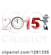 Clipart Of A 3d Blue Android Robot Wearing A Santa Hat Leaning On New Year 2015 With A Wall Clock Royalty Free Illustration