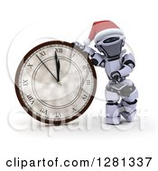 Clipart Of A 3d Silver Robot Pointing To And Leaning On A New Year Wall Clock Approaching Midnight Royalty Free Illustration