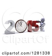 Clipart Of A 3d Silver Robot Leaning On New Year 2015 With A Clock Royalty Free Illustration