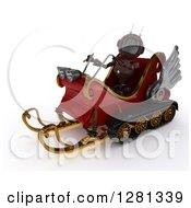Clipart Of A 3d Red Android Robot Flying Santas Sleigh Royalty Free Illustration by KJ Pargeter