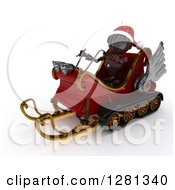 Clipart Of A 3d Red Android Robot Wearing A Hat And Flying Santas Sleigh Royalty Free Illustration by KJ Pargeter