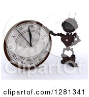 Clipart Of A 3d Red Android Robot Pointing To And Leaning On A New Year Wall Clock Approaching Midnight Royalty Free Illustration