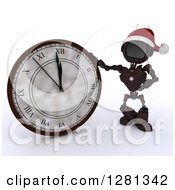 Clipart Of A 3d Red Android Robot Wearing A Santa Hat And Pointing To And Leaning On A New Year Wall Clock Approaching Midnight Royalty Free Illustration
