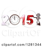 Clipart Of A 3d Red Android Robot Leaning On New Year 2015 With A Clock Royalty Free Illustration