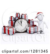 Clipart Of A 3d White Man Wearing A Santa Hat Standing With Gifts Around A New Year Clock Approaching Midnight Royalty Free Illustration
