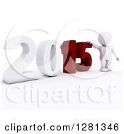 Clipart Of A 3d White Man Standing With A Giant New Year 2015 Royalty Free Illustration