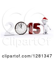 Clipart Of A 3d White Man Wearing A Santa Hat And Standing With A Giant New Year 2015 And Clock Approaching Midnight Royalty Free Illustration