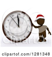 Clipart Of A 3d Brown Man Wearing A Santa Hat And Standing With A New Year Clock Approaching Midnight Royalty Free Illustration