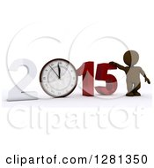 Clipart Of A 3d Brown Man Standing With A Giant New Year 2015 With A Clock Approaching Midnight Royalty Free Illustration