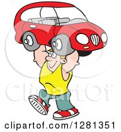 Clipart Of A Cartoon Caucasian Happy Strong Man Lifting A Car Over His Head Royalty Free Vector Illustration by Johnny Sajem