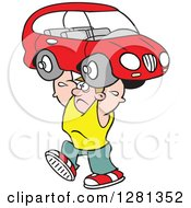 Clipart Of A Cartoon Caucasian Struggling Strong Man Lifting A Car Over His Head Royalty Free Vector Illustration