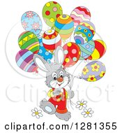 Clipart Of A Happy Gray Easter Bunny Rabbit Boy Walking With Party Balloons Royalty Free Vector Illustration