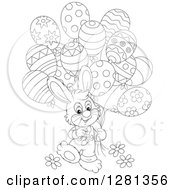 Clipart Of A Happy Black And White Bunny Rabbit Boy Walking With Easter Party Balloons Royalty Free Vector Illustration by Alex Bannykh