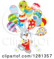 Clipart Of A Happy Gray Bunny Rabbit Boy Walking With Easter Party Balloons Royalty Free Vector Illustration by Alex Bannykh