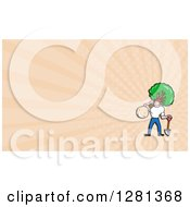 Clipart Of A Cartoon Landscaper Carrying A Tree And Peach Rays Background Or Business Card Design Royalty Free Illustration