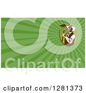 Clipart Of A Retro Male Farmer Holding A Hoe And Green Rays Background Or Business Card Design Royalty Free Illustration