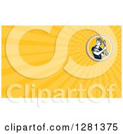 Clipart Of A Retro Female Mechanic Rolling Up Her Sleeves And Yellow Rays Background Or Business Card Design Royalty Free Illustration