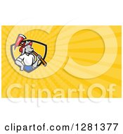 Clipart Of A Cartoon Dog Fireman With An Axe And Yellow Rays Background Or Business Card Design Royalty Free Illustration