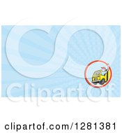 Clipart Of A Cartoon Waving Male Delivery Truck Driver And Blue Rays Background Or Business Card Design Royalty Free Illustration