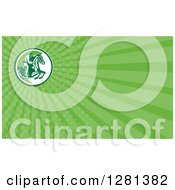 Clipart Of A Retro Show Jumping Horse And Equestrian And Green Rays Background Or Business Card Design Royalty Free Illustration