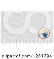 Cartoon Male Builder Holding His Hand Out And Gray Rays Background Or Business Card Design