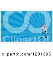 Cartoon Male Carpenter Holding Up A Hammer And Blue Rays Background Or Business Card Design