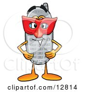 Wireless Cellular Telephone Mascot Cartoon Character Wearing A Red Mask Over His Face