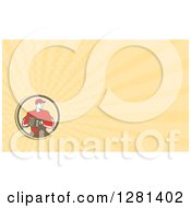 Clipart Of A Retro Male Baseball Catcher Or Pitcher And Pastel Yellow Rays Background Or Business Card Design Royalty Free Illustration