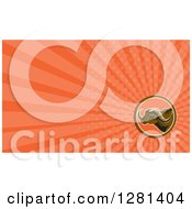 Clipart Of A Retro African Buffalo And Orange Rays Background Or Business Card Design Royalty Free Illustration