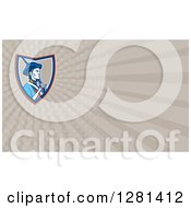 Clipart Of A Retro American Patriot Soldier With A Musket And Taupe Rays Background Or Business Card Design Royalty Free Illustration