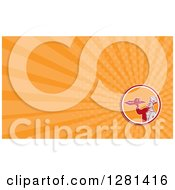 Clipart Of A Retro Woodcut Male Chef Serving Cake Gelatin And Orange Rays Background Or Business Card Design Royalty Free Illustration