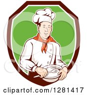 Clipart Of A Retro Male Chef Holding A Bowl And Spoon In A Brown White And Green Shield Royalty Free Vector Illustration