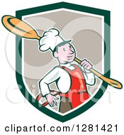 Clipart Of A Happy Cartoon Chef Carrying A Giant Spoon Over His Shoulder In A Green White And Taupe Shield Royalty Free Vector Illustration