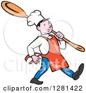 Clipart Of A Happy Cartoon Chef Marching With A Giant Spoon Over His Shoulder Royalty Free Vector Illustration