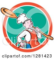 Clipart Of A Happy Cartoon Chef Carrying A Giant Spoon Over His Shoulder In A Turquoise White And Orange Circle Royalty Free Vector Illustration