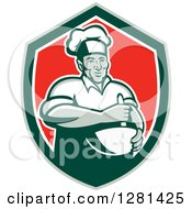 Clipart Of A Retro Male Chef Holding A Mixing Bowl In A Green White And Red Shield Royalty Free Vector Illustration