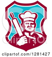 Clipart Of A Retro Male Chef Holding A Rolling Pin Over His Shoulder In A Maroon White And Blue Shield Royalty Free Vector Illustration