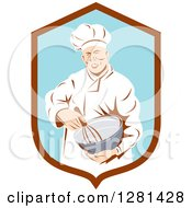 Clipart Of A Retro Male Chef Holding A Whisk And Mixing Bowl In A Brown And Blue Shield Royalty Free Vector Illustration by patrimonio