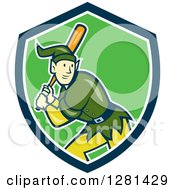 Clipart Of A Cartoon Christmas Elf With A Baseball Bat In A Blue White And Green Shield Royalty Free Vector Illustration