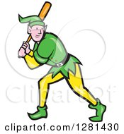 Clipart Of A Cartoon Christmas Elf Batting At A Baseball Game Royalty Free Vector Illustration by patrimonio