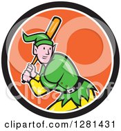 Clipart Of A Cartoon Christmas Elf With A Baseball Bat In A Black White And Orange Circle Royalty Free Vector Illustration by patrimonio
