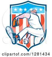 Clipart Of A Cartoon Male Baseball Player Pitching In An American Themed Shield Royalty Free Vector Illustration