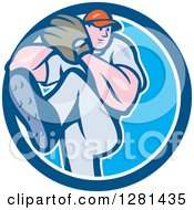 Clipart Of A Cartoon Male Baseball Player Pitching In A Blue And White Circle Royalty Free Vector Illustration