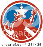 Clipart Of A Retro Male Baseball Player Pitching In A Red White And Blue Star Circle Royalty Free Vector Illustration