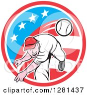 Clipart Of A Cartoon Male Baseball Player Pitching In An American Themed Circle Royalty Free Vector Illustration