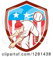 Clipart Of A Retro Cartoon Male Baseball Player Pitching In An American Themed Shield Royalty Free Vector Illustration