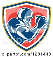 Clipart Of A Retro American Football Player Holding A Ball In A Yellow Blue White And Red Shield Royalty Free Vector Illustration