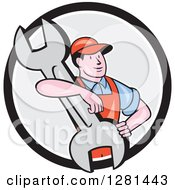 Clipart Of A Cartoon Male Mechanic With His Arm Around A Giant Wrench In A Black White And Gray Circle Royalty Free Vector Illustration