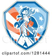 Clipart Of A Retro American Revolutionary Patriot Soldier Mechanic Walking With A Spanner Wrench In A Patriotic Shield Royalty Free Vector Illustration