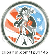 Clipart Of A Retro American Revolutionary Patriot Soldier Mechanic Walking With A Spanner Wrench In A Patriotic Circle Royalty Free Vector Illustration